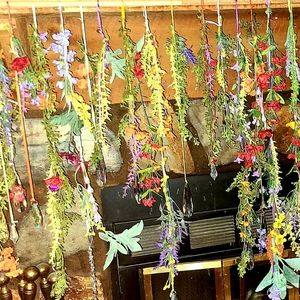 Handcrafted flower curtains